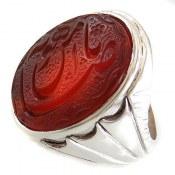 انگشتر نقره عقیق شاهانه حکاکی یا ضامن آهو مردانه
