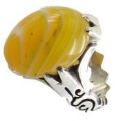 انگشتر نقره عقیق سلیمانی جذاب رکاب یاعلی مردانه