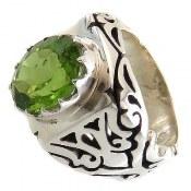 انگشتر نقره زبرجد طرح اشرافی مردانه