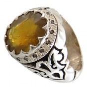انگشتر نقره یاقوت زرد درشت اشرافی مردانه
