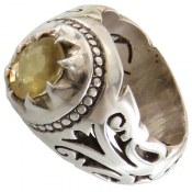 انگشتر نقره یاقوت زرد جذاب مردانه