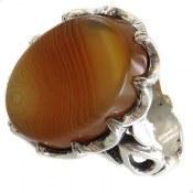 انگشتر نقره عقیق سلیمانی خوش رنگ درشت مردانه