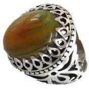 انگشتر نقره عقیق سلیمانی خوش رنگ طرح سلطان مردانه