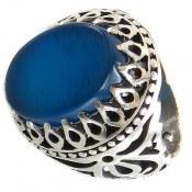 انگشتر عقیق آبی درشت طرح شهنام مردانه
