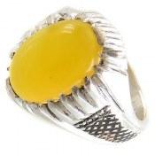 انگشتر عقیق زرد شرف الشمس طرح حسام مردانه