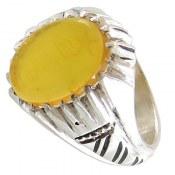 انگشتر عقیق زرد شرف الشمس طرح ماهان مردانه