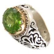 انگشتر نقره زبرجد درشت سلطنتی مردانه