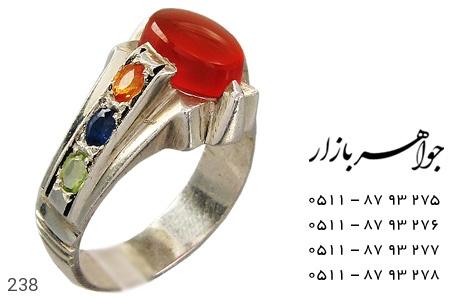 انگشتر نقره عقیق و یاقوت مردانه دست ساز - 238