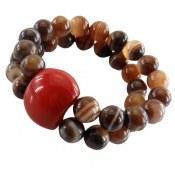 دستبند عقیق جذاب دو رشته ای زنانه