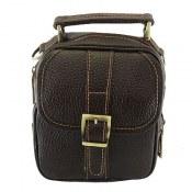 کیف چرم طبیعی دوشی یا دستی اسپرت قهوه ای تیره