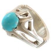 انگشتر نقره فیروزه نیشابوری عجمی خوش رنگ مردانه
