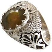 انگشتر یاقوت زرد درشت تراش مردانه
