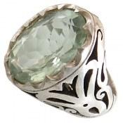 انگشتر نقره آمتیست سبز درشت طرح سلطان مردانه