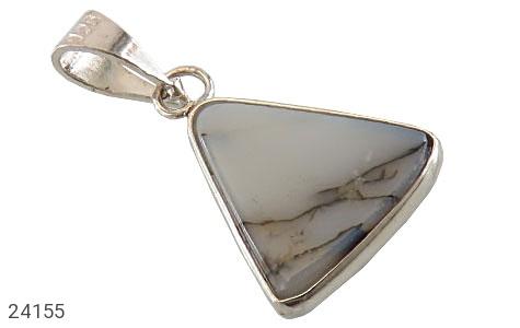 عکس مدال نقره عقیق شجری مثلثی