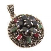 مدال نقره یاقوت و زمرد طرح شهرزاد زنانه