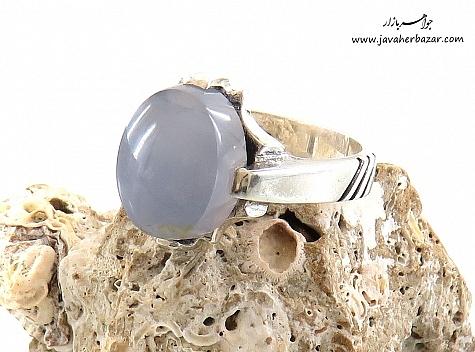 انگشتر نقره عقیق یمن کبود طرح آرمان مردانه - 24238