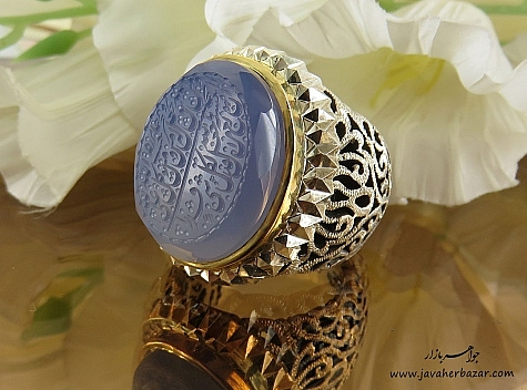 انگشتر نقره عقیق یمن کبود حکاکی ومن یتق الله فاخر مردانه دست ساز - 24272