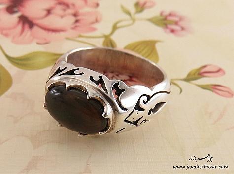 انگشتر نقره اپال صفوی خوش رنگ مردانه دست ساز - 24277