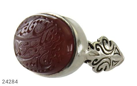 انگشتر نقره عقیق یمن خطی و ارزشمند مردانه دست ساز - 24284