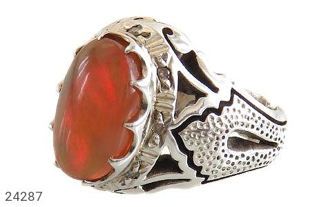 انگشتر نقره اپال اپال دور برلیان اصل مردانه دست ساز - 24287