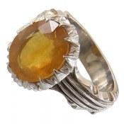 انگشتر نقره یاقوت زرد خوش رنگ مردانه