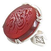انگشتر نقره عقیق قرمز درشت حکاکی محمد نبی الرحمه مردانه