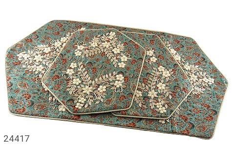 ترمه رومیزی سه تکه عسلی طرح مریلا دست ساز - 24417