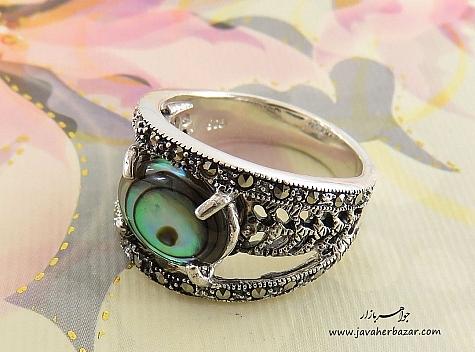 انگشتر نقره صدف خوش رنگ طرح غزل زنانه - 24531