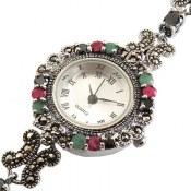 ساعت نقره زمرد یاقوت زنانه quartz