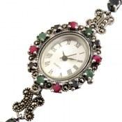 ساعت نقره کوارتز زمرد یاقوت سرخ و کبود اشرافی زنانه quartz