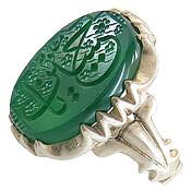 انگشتر نقره عقیق سبز درشت حکاکی یا حسین مظلوم مردانه