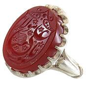 انگشتر نقره عقیق سرخ درشت حکاکی یا علی مولا مردانه