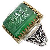 انگشتر عقیق سبز درشت علی ولی الله رکاب یاامام رضا مردانه