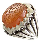انگشتر نقره عقیق یمن حسین منی و انا من حسین مردانه دست ساز