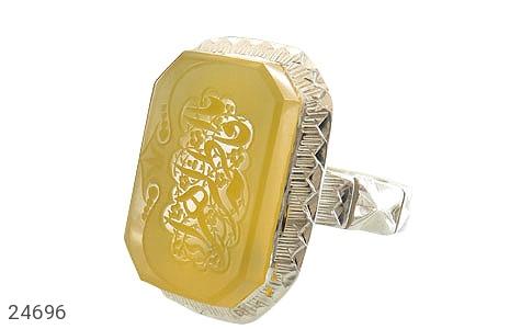 عکس انگشتر عقیق زرد درشت حکاکی یا فاطمه الزهرا مردانه