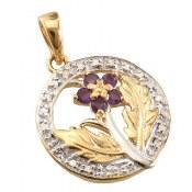 مدال نقره آمتیست و برلیان مانی طرح مهگل زنانه