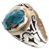 انگشتر نقره فیروزه نیشابوری شجری خوش رنگ مردانه