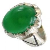 انگشتر نقره عقیق سبز درشت و جذاب مردانه