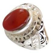انگشتر نقره عقیق یمن خوش رنگ شاهانه مردانه