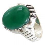 انگشتر نقره عقیق سبز طرح شایان مردانه