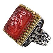انگشتر نقره عقیق قرمز حکاکی یا ثارالله مردانه