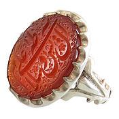 انگشتر نقره عقیق قرمز درشت حکاکی فاخر مردانه دست ساز