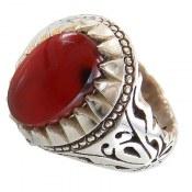 انگشتر نقره عقیق یمنی خوش رنگ مردانه