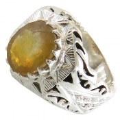 انگشتر نقره یاقوت زرد درشت مردانه