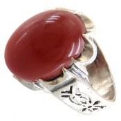 انگشتر نقره عقیق قرمز درشت طرح شهرام مردانه
