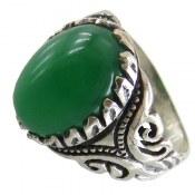 انگشتر عقیق سبز طرح سامان مردانه