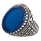 انگشتر نقره عقیق آبی رکاب ورساچه مردانه