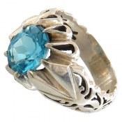 انگشتر نقره توپاز سوئیس خوش رنگ مردانه