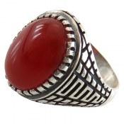 انگشتر نقره عقیق قرمز رکاب ورساچه مردانه