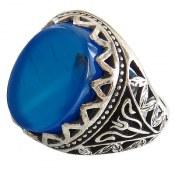 انگشتر عقیق آبی طرح سلطان مردانه